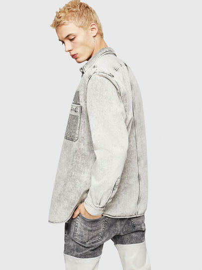 Diesel - D-MILOV, Grey - Denim Shirts - Image 6