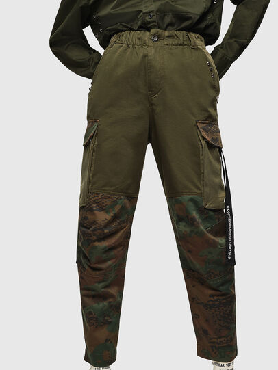 Diesel - P-THENA-A, Green Camouflage - Pants - Image 1