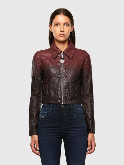 Diesel - L-SHAE, Dark Violet - Leather jackets - Image 1