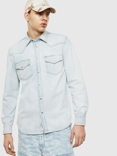 Diesel - D-EAST-P, Light Blue - Denim Shirts - Image 1