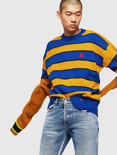 Diesel - K-LOVERY, Blue/Yellow - Knitwear - Image 4
