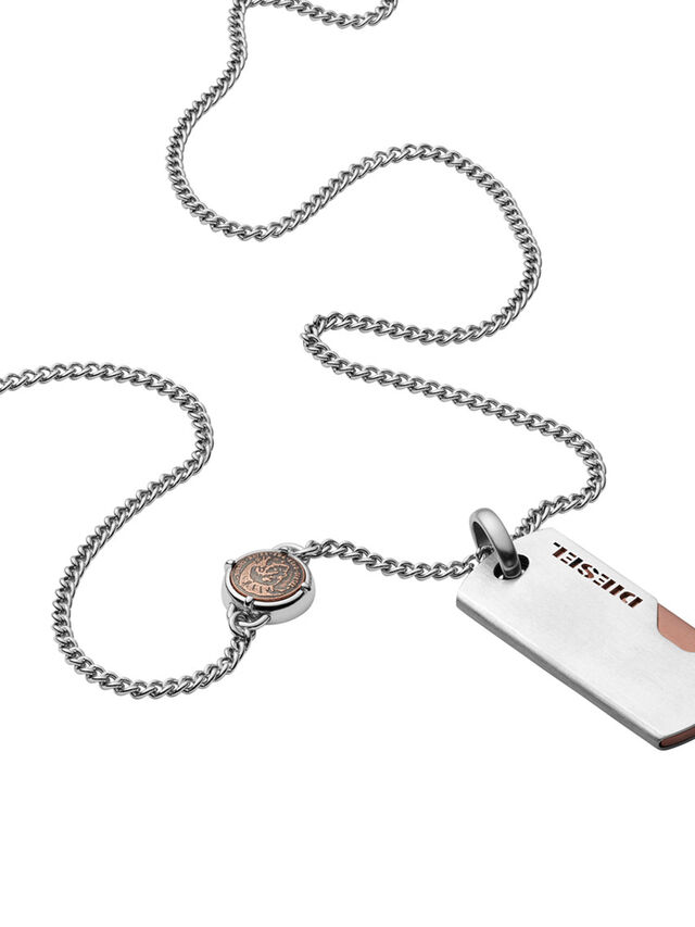 Diesel - NECKLACE DX1078, Silver - Necklaces - Image 1