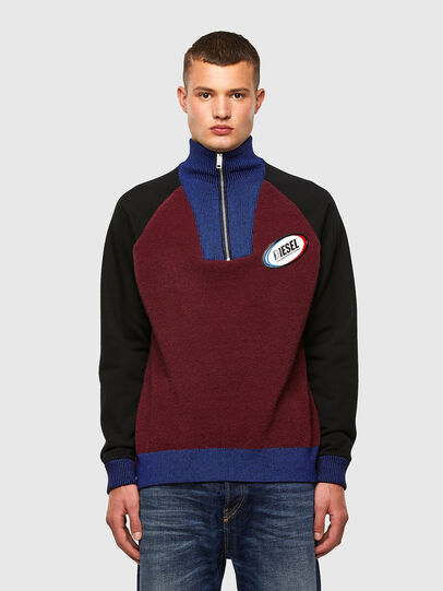 Diesel - K-PHIL, Black/Red - Knitwear - Image 1