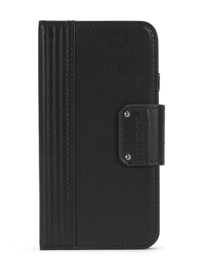 Diesel - BLACK LINED LEATHER IPHONE 8 PLUS/7 PLUS FOLIO,  - Flip covers - Image 1