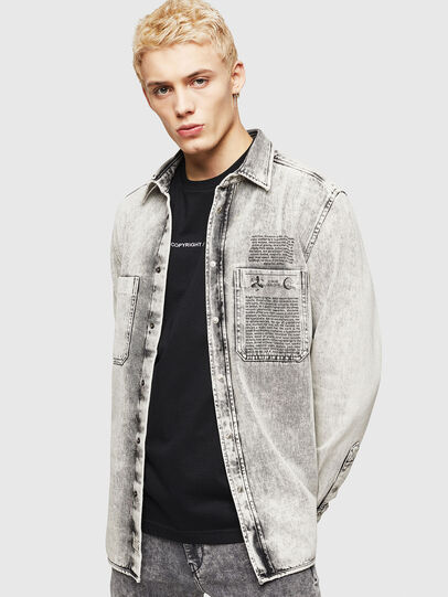 Diesel - D-MILOV, Grey - Denim Shirts - Image 1