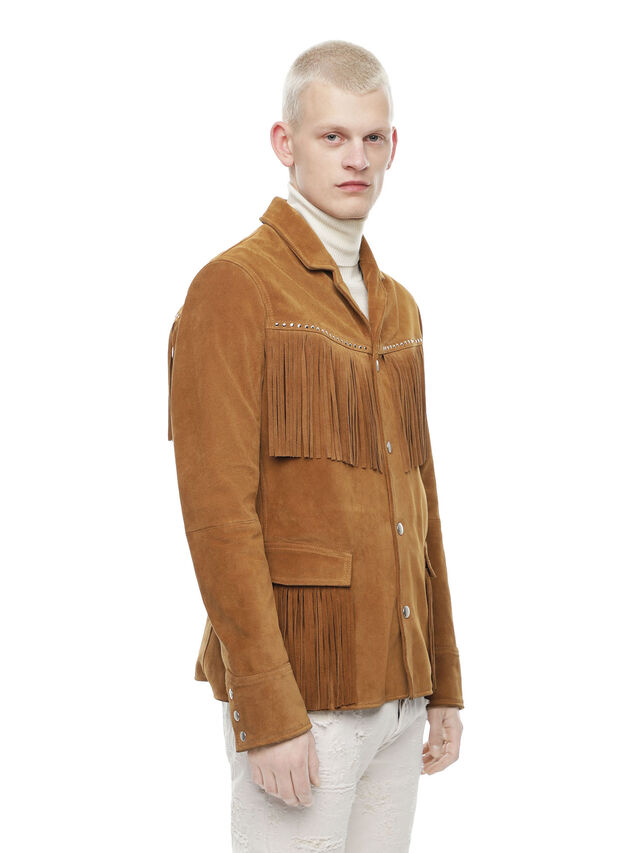 Diesel - LEOS, Brown/Beige - Leather jackets - Image 3