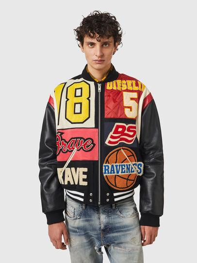 Diesel - L-KEIR, Black/Red - Leather jackets - Image 1
