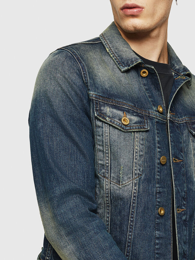 Diesel - D-GALY, Dark Blue - Denim Jackets - Image 3