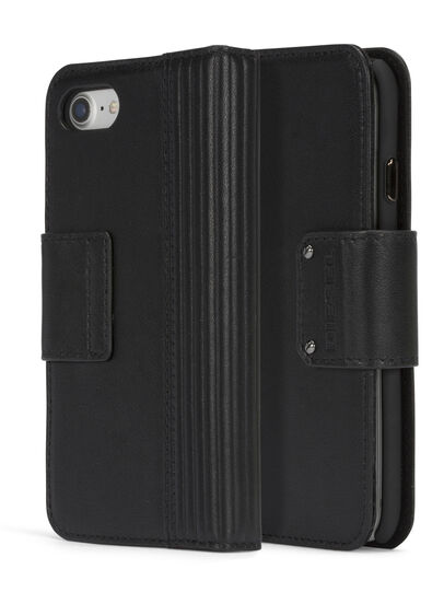 Diesel - BLACK LINED LEATHER IPHONE 8 PLUS/7 PLUS FOLIO,  - Flip covers - Image 3