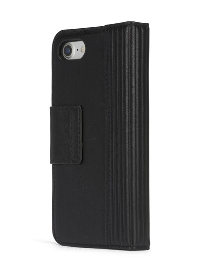 Diesel - BLACK LINED LEATHER IPHONE 8 PLUS/7 PLUS FOLIO,  - Flip covers - Image 6