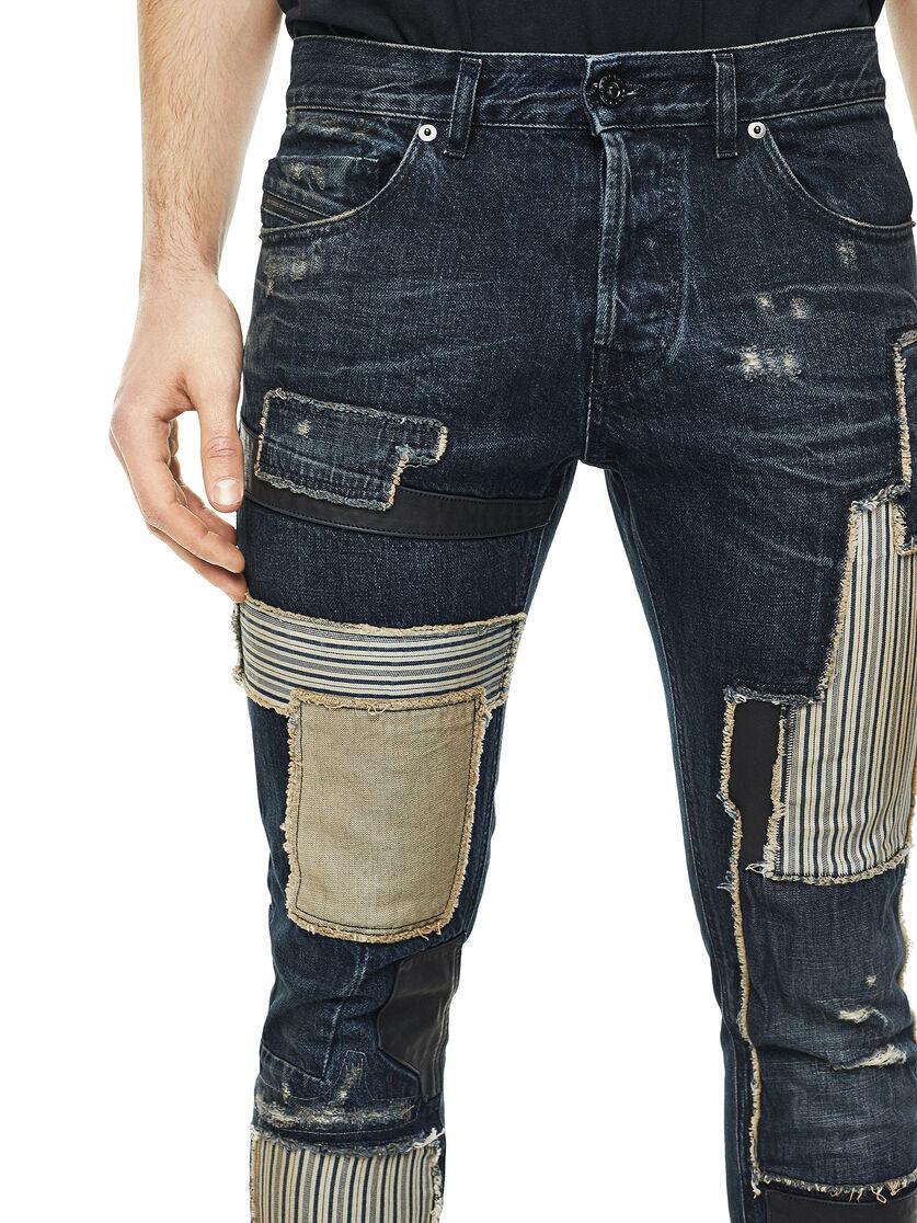 Type 2813d Men Slim Jeans With Contrasting Patchwork Diesel