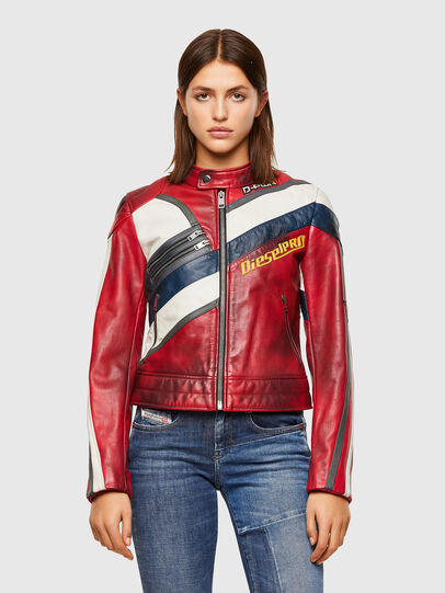Diesel - L-POLLY, Red - Leather jackets - Image 1