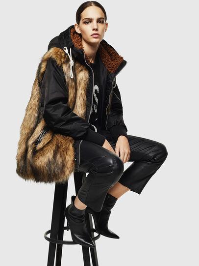 Diesel - L-ALYANA, Black/Brown - Leather jackets - Image 7