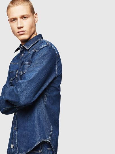 Diesel - D-EAST-P, Medium blue - Denim Shirts - Image 6