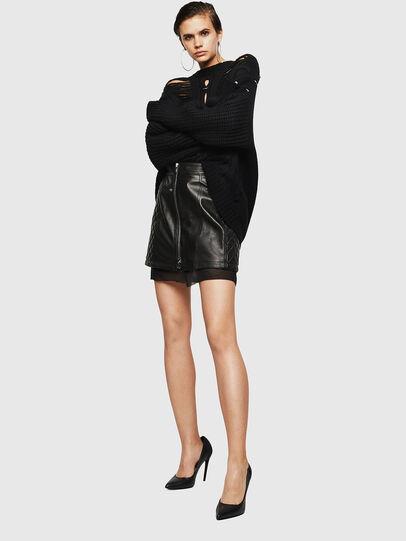 Diesel - OLESIA, Black - Leather skirts - Image 6