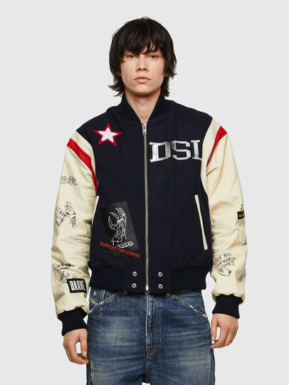 Diesel - L-COHEN, Blue/White - Leather jackets - Image 1