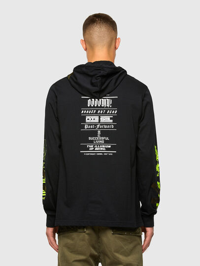 Diesel - T-JUST-LS-HOOD-TAPES, Black - T-Shirts - Image 2