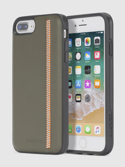 Diesel - ZIP OLIVE LEATHER IPHONE 8 PLUS/7 PLUS/6s PLUS/6 PLUS CASE, Olive Green - Cases - Image 1