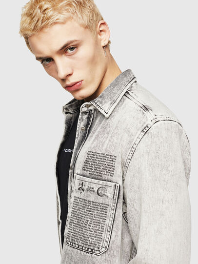 Diesel - D-MILOV, Grey - Denim Shirts - Image 3