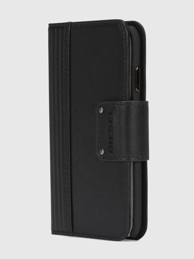 BLACK LINED LEATHER IPHONE X FOLIO, Black