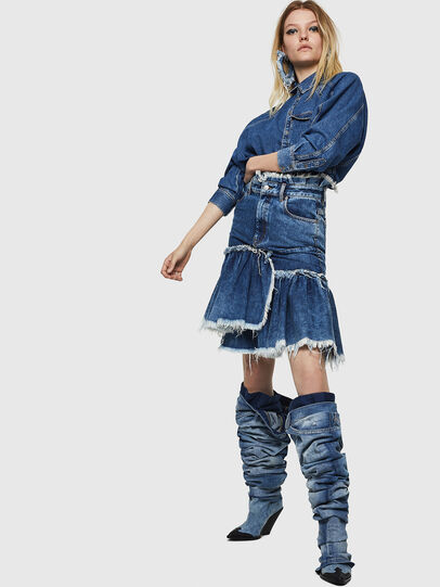 Diesel - DE-ALAYNA, Medium blue - Skirts - Image 7