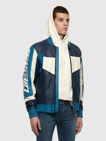 Diesel - L-MAY, Blue/White - Leather jackets - Image 7