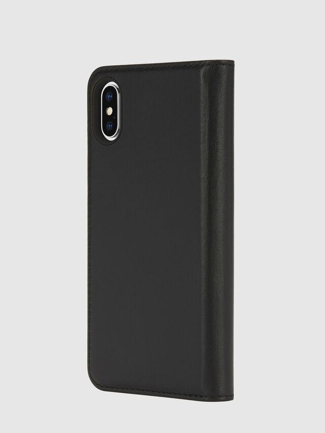 Diesel - SLIM LEATHER FOLIO IPHONE X, Black - Flip covers - Image 3