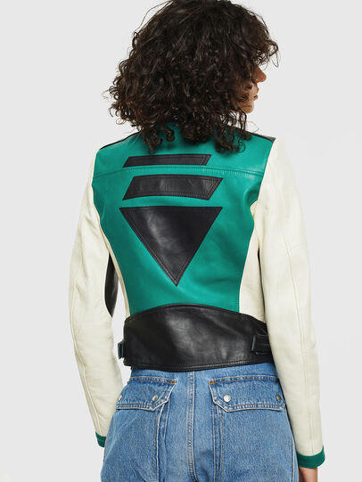 Diesel - L-ALLIE, White/Green - Leather jackets - Image 2