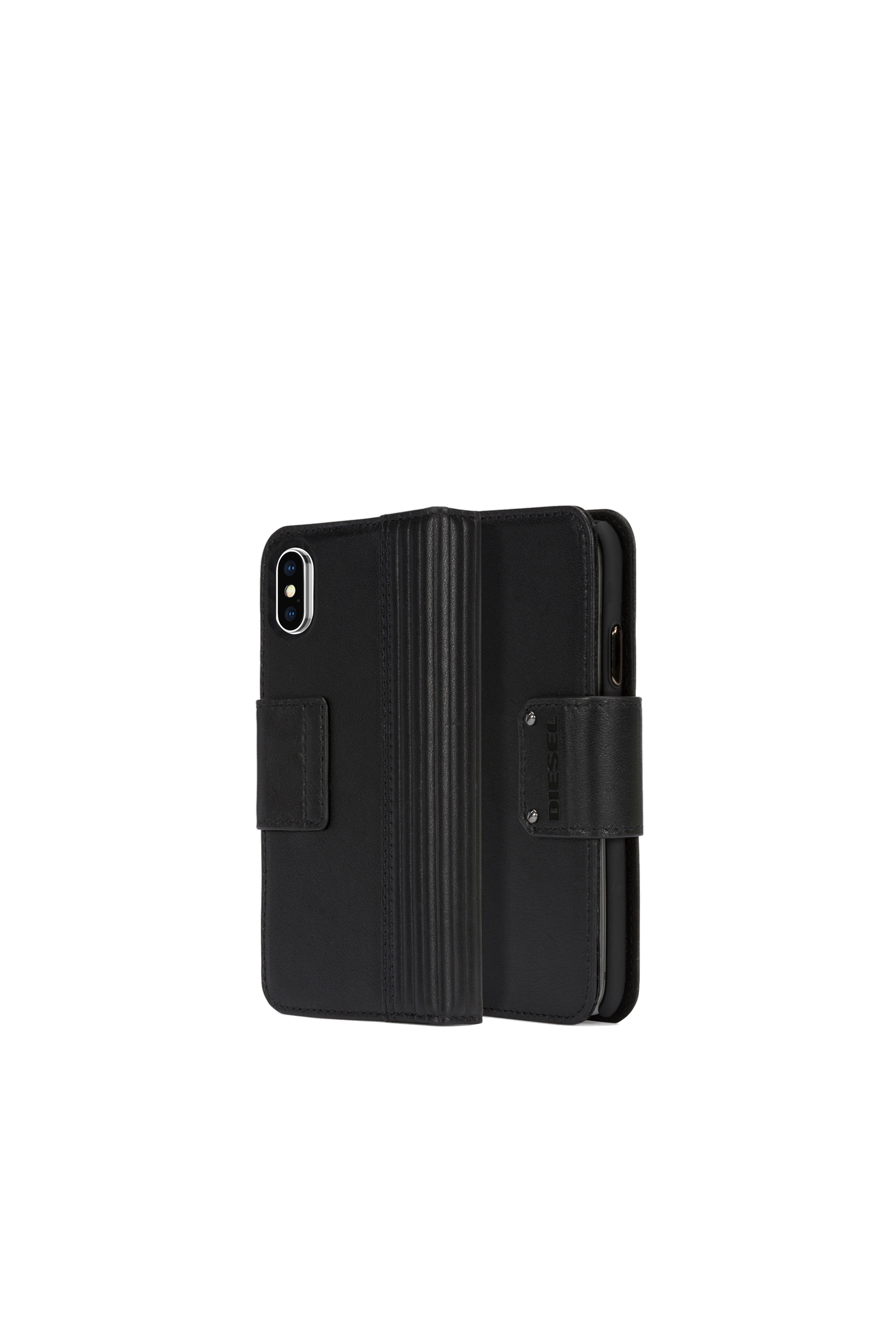 Diesel - BLACK LINED LEATHER IPHONE X FOLIO,  - Flip covers - Image 1